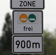 """Additional sign Umwelt ZONE """"frei"""""""